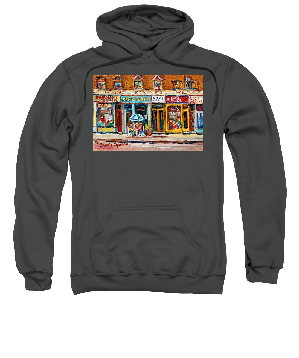 Cafes Sweatshirt featuring the painting Cafe Yenta And Ma's Place by Carole Spandau