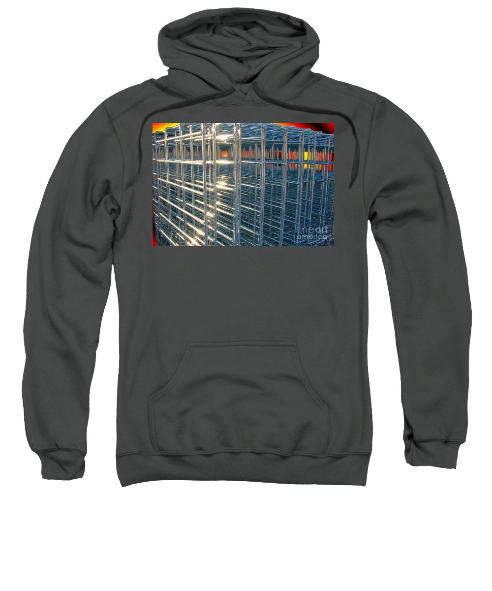 Wire Art Sweatshirt featuring the digital art Caged Fire by Ron Bissett