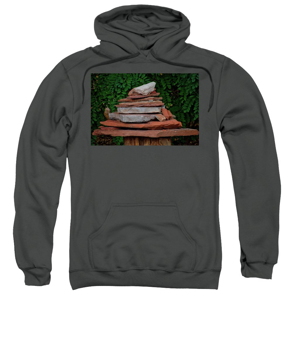 Utah Sweatshirt featuring the photograph Cairns Rock Trail Marker Bluff Utah 01 by Thomas Woolworth