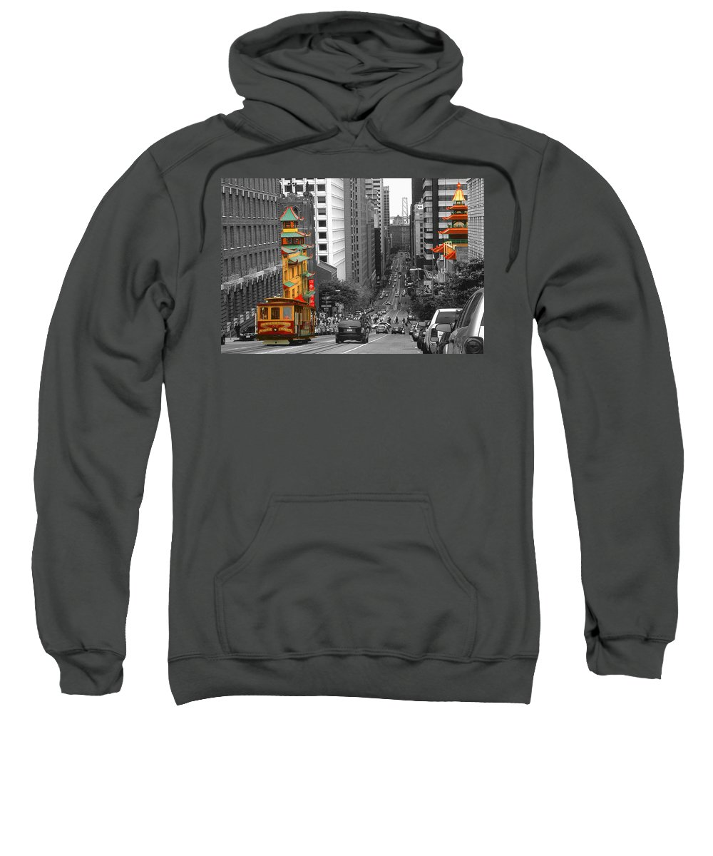 San+francisco Sweatshirt featuring the photograph California Street San Francisco by Peter Potter