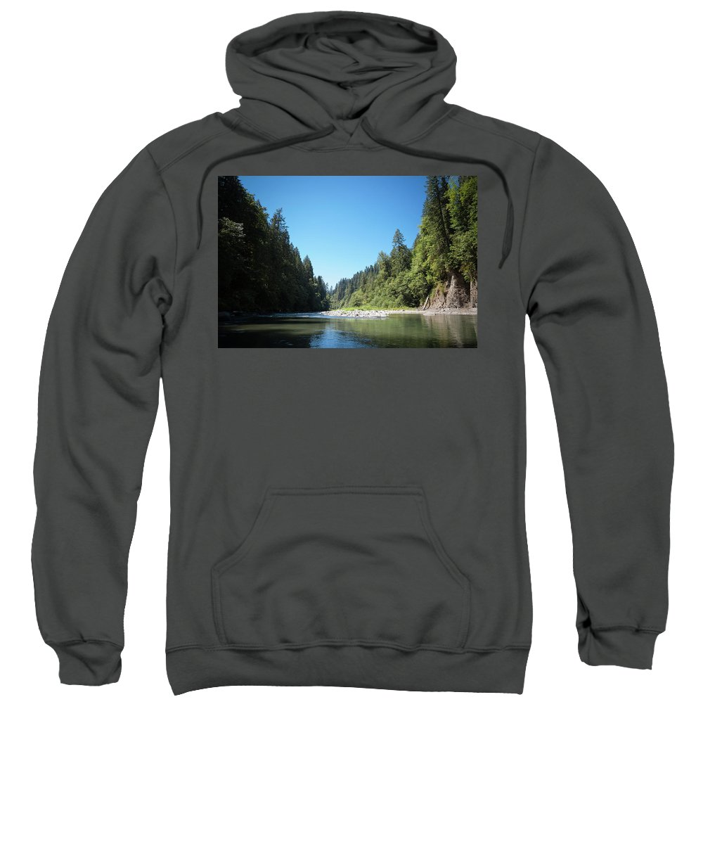 Forest Sweatshirt featuring the photograph Calm Sandy River In Sandy, Oregon by Bradley Hebdon