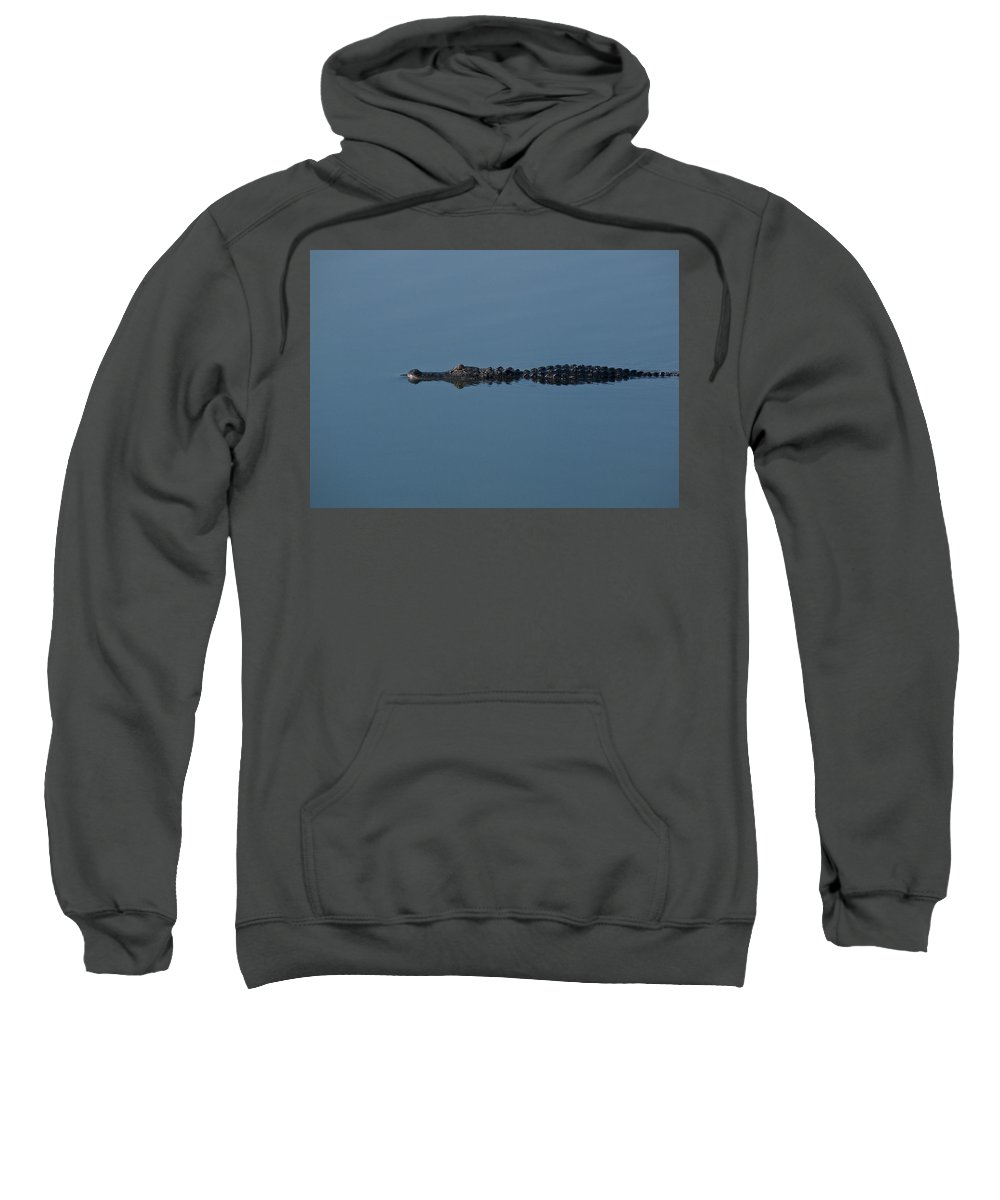 Alligator Sweatshirt featuring the photograph Calm Water Cruise by Steven Sparks