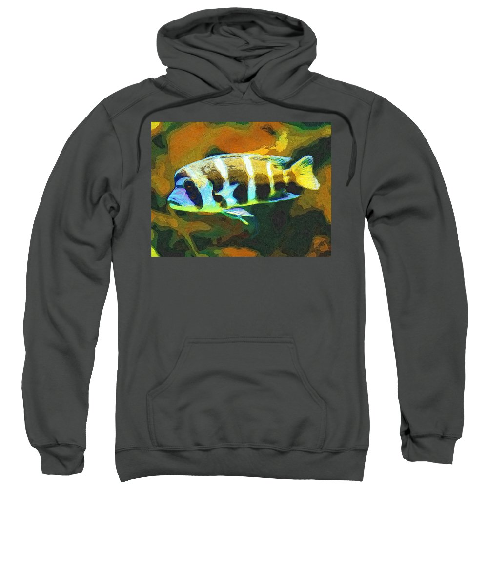 Fish Sweatshirt featuring the painting Calvin by Dominic Piperata
