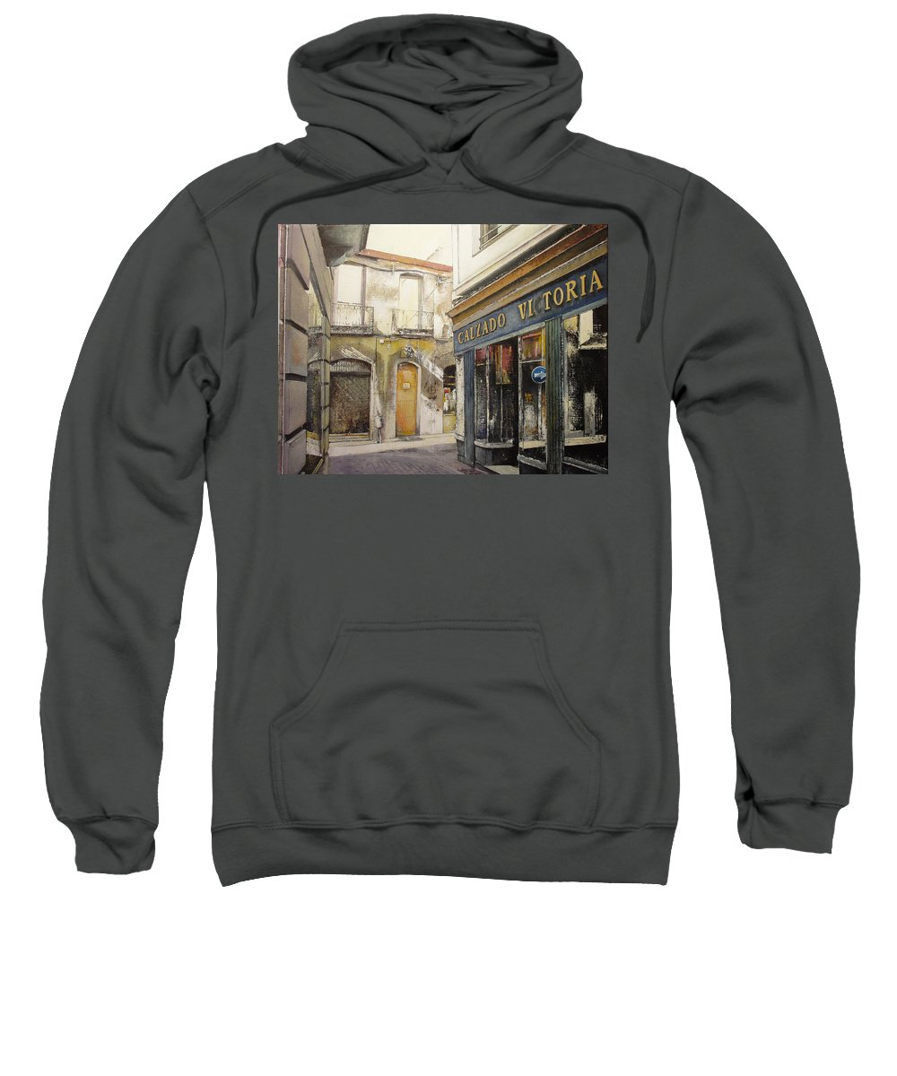 Calzados Sweatshirt featuring the painting Calzados Victoria-leon by Tomas Castano