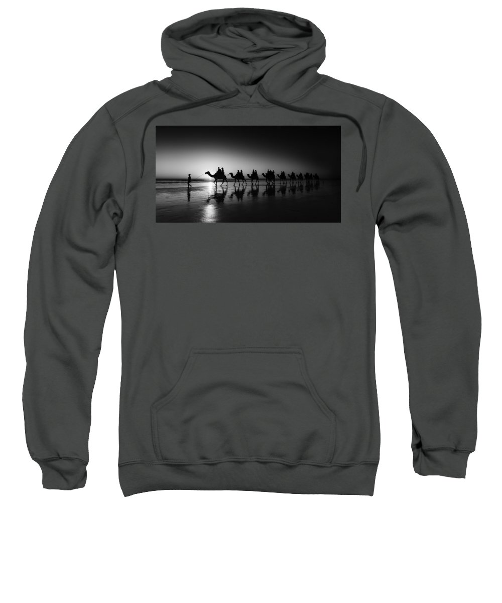 Broome Sweatshirt featuring the photograph Camels On The Beach by Chris Cousins