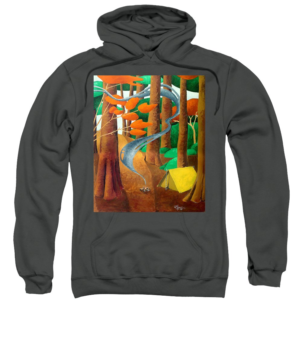 Landscape Sweatshirt featuring the painting Camping - Through The Forest Series by Richard Hoedl
