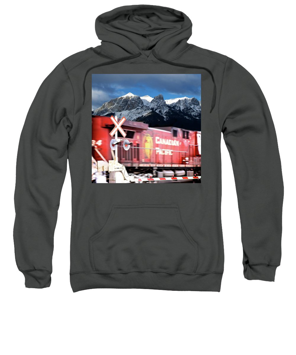 Train Sweatshirt featuring the photograph Canadian Pacific Trail Slices Through The Rockies by Lisa Knechtel