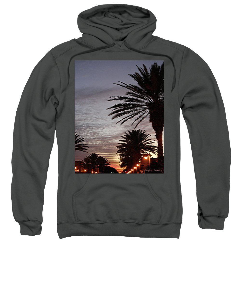 New Smyrna Beach Sweatshirt featuring the photograph Canal Street At Dusk by DigiArt Diaries by Vicky B Fuller