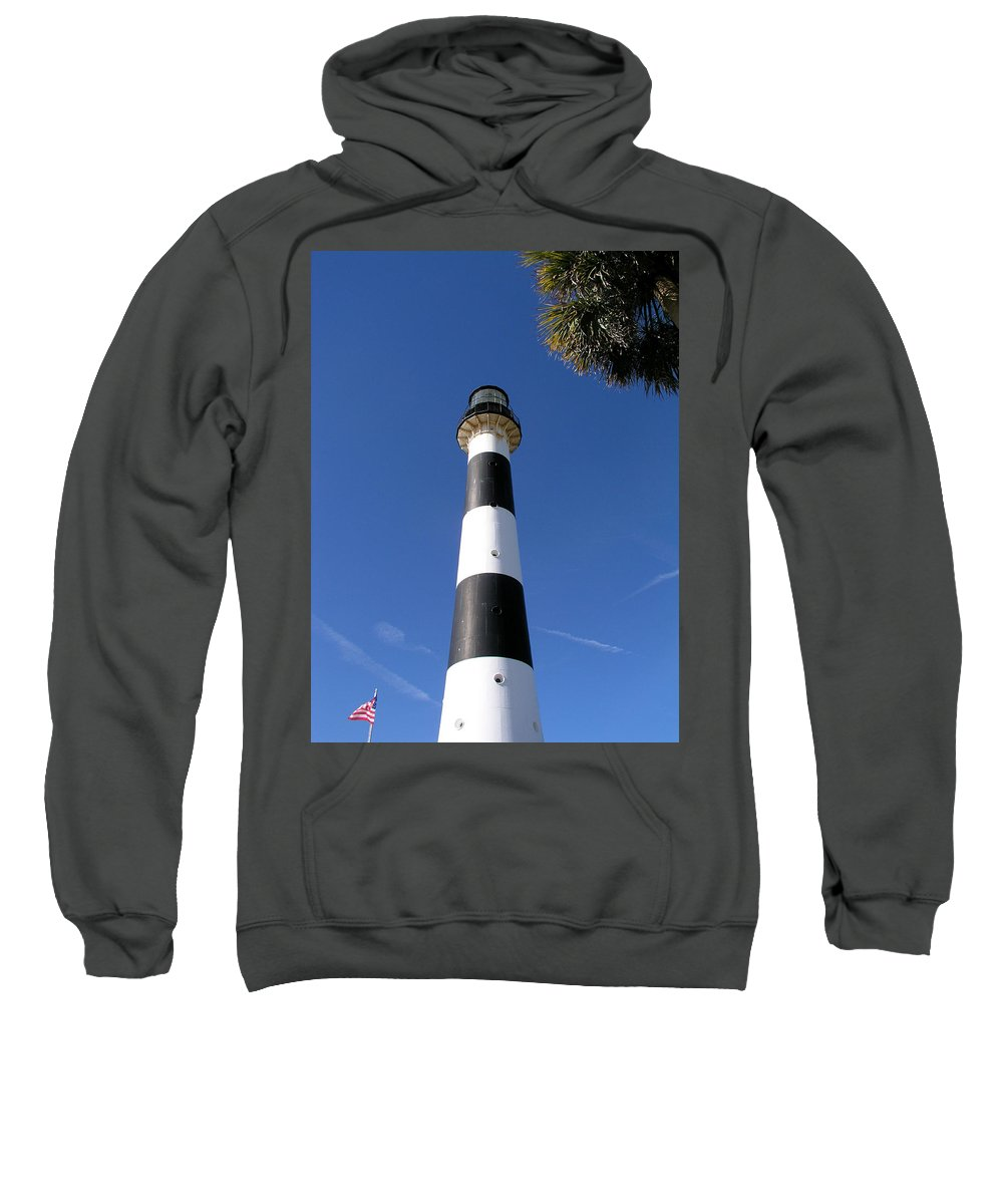Cape; Canaveral; Light; Lighthouse; Lighthousekeeper; Keeper; Stairs; Kennedy; Space; Center; Air; F Sweatshirt featuring the photograph Canaveral Light by Allan Hughes