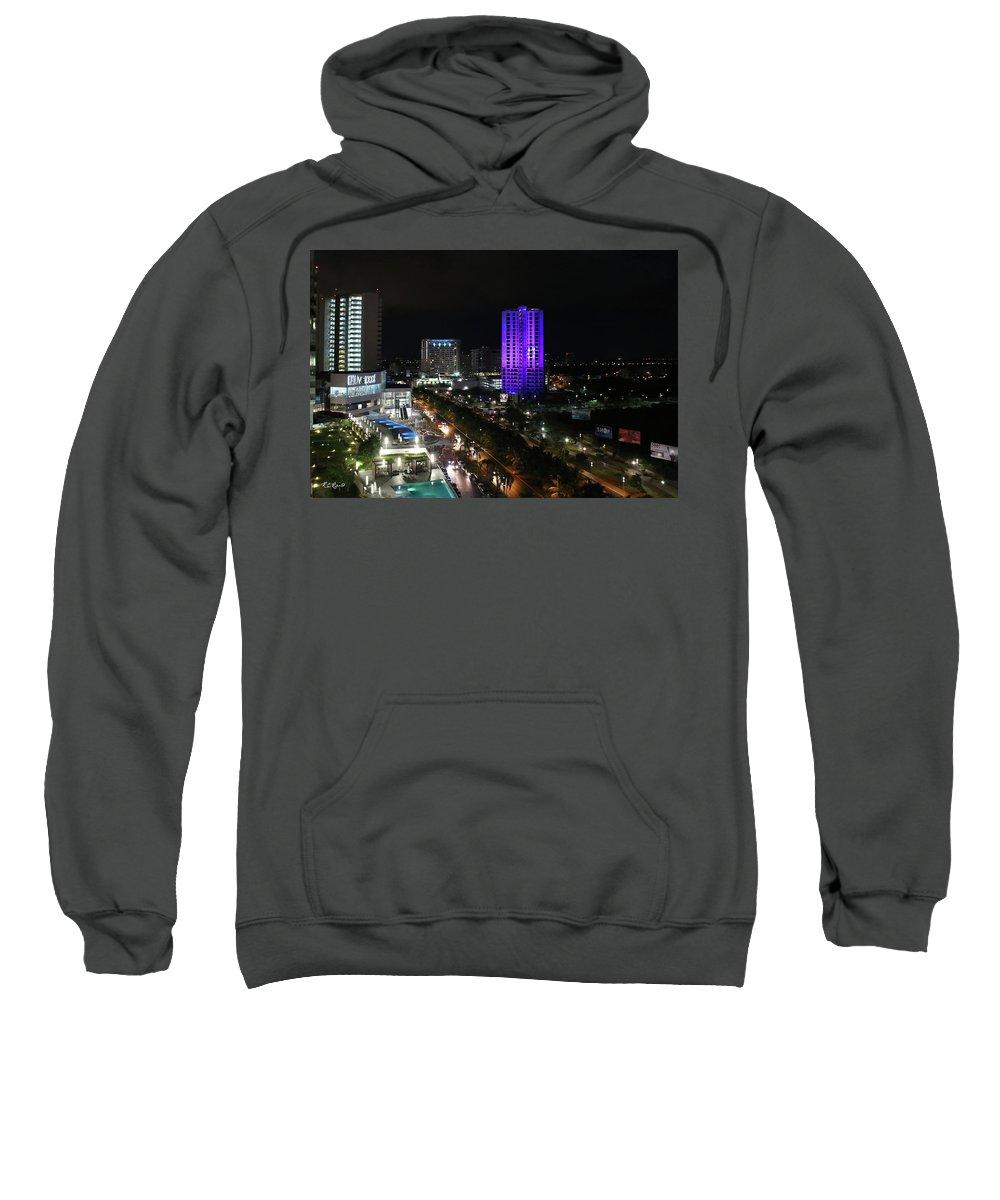Cancun Sweatshirt featuring the photograph Cancun Mexico - Downtown Cancun by Ronald Reid