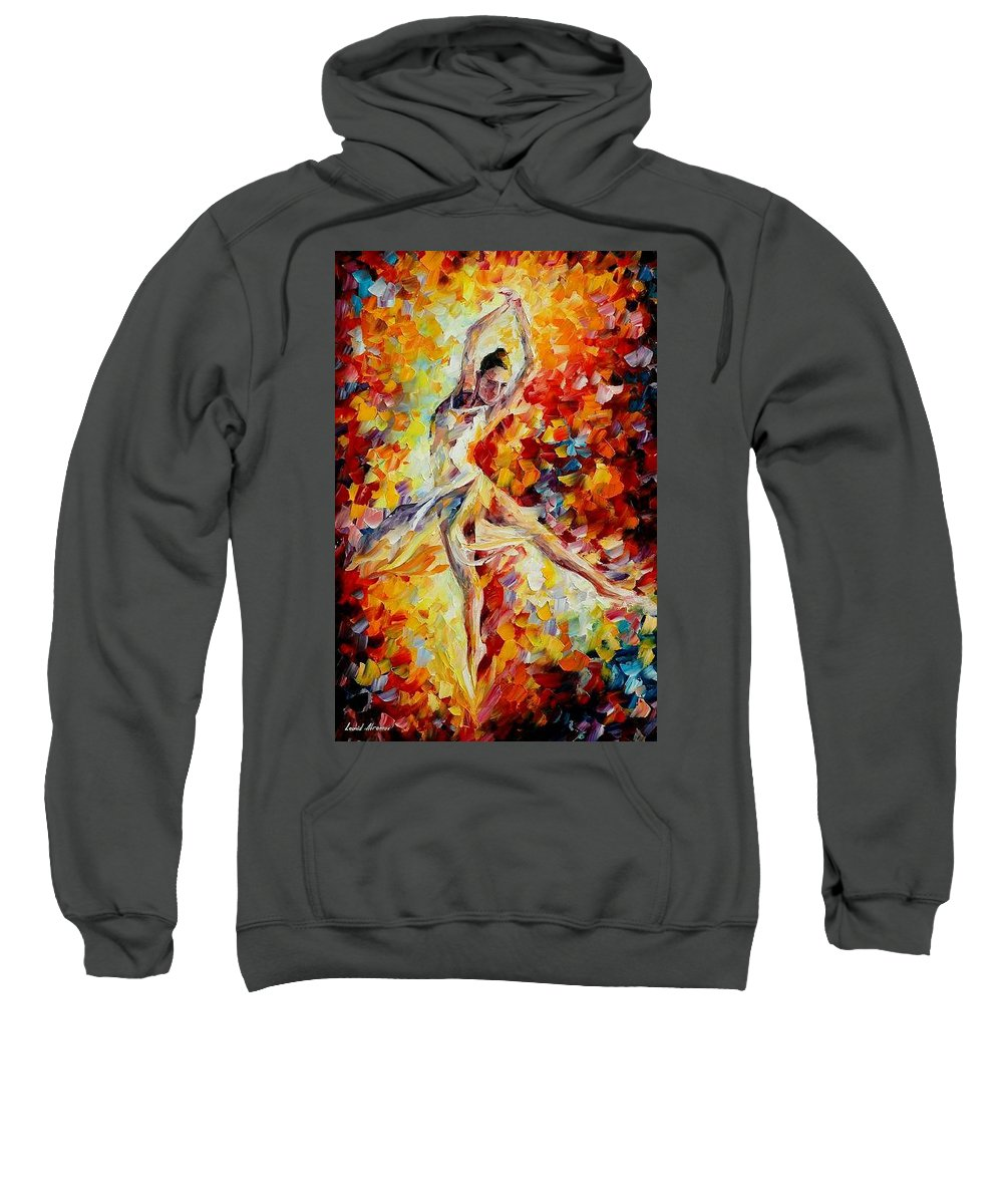 Danse Sweatshirt featuring the painting Candle Fire by Leonid Afremov