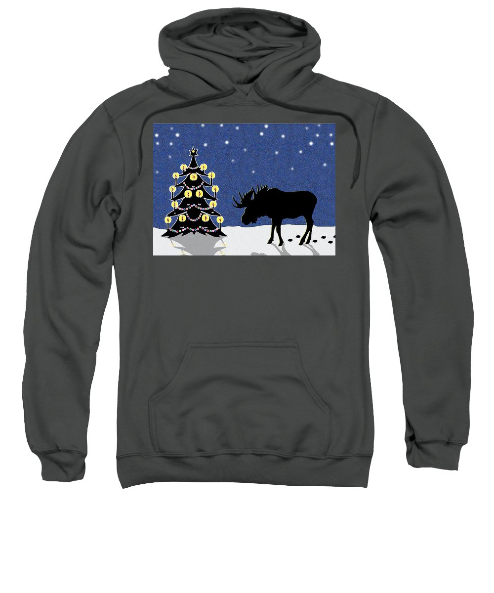 Moose Sweatshirt featuring the digital art Candlelit Christmas Tree And Moose In The Snow by Nancy Mueller