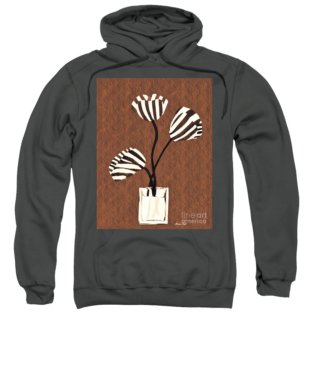 Tulip Sweatshirt featuring the mixed media Candy Stripe Tulips 3 by Sarah Loft