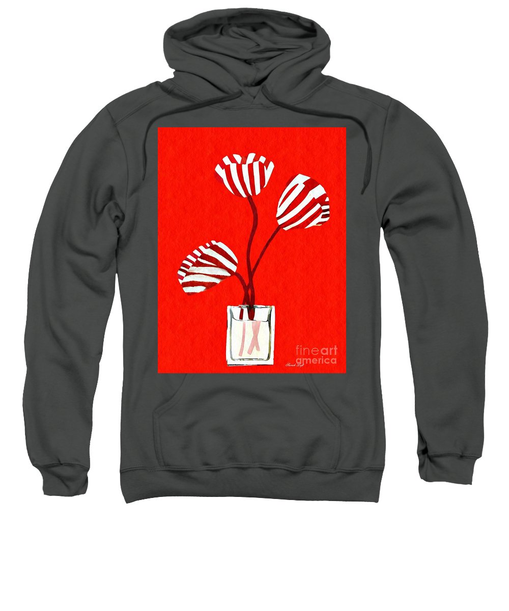 Tulip Sweatshirt featuring the mixed media Candy Stripe Tulips by Sarah Loft