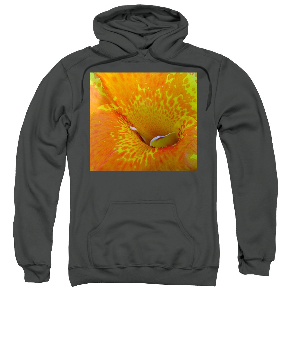 Orange Yellow Flower Sweatshirt featuring the photograph Canna by Luciana Seymour