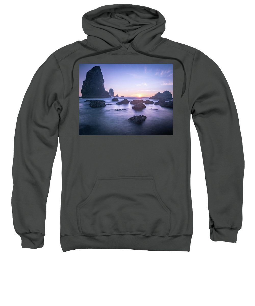 Cannon Sweatshirt featuring the photograph Cannon Beach Rocks Sunset by Travis Elder