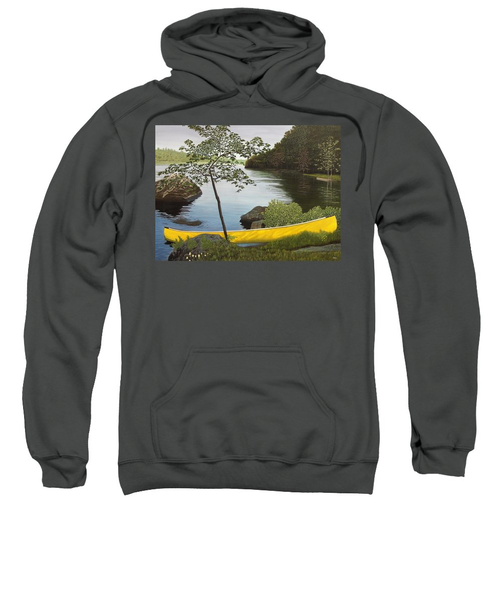 Landscapes Sweatshirt featuring the painting Canoe On The Bay by Kenneth M Kirsch