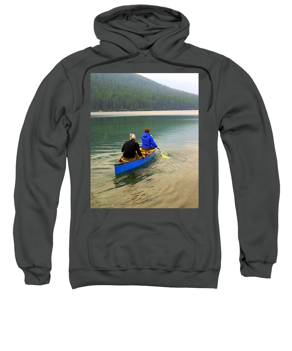 Glacier National Park Sweatshirt featuring the photograph Canoeing Glacier Park by Marty Koch