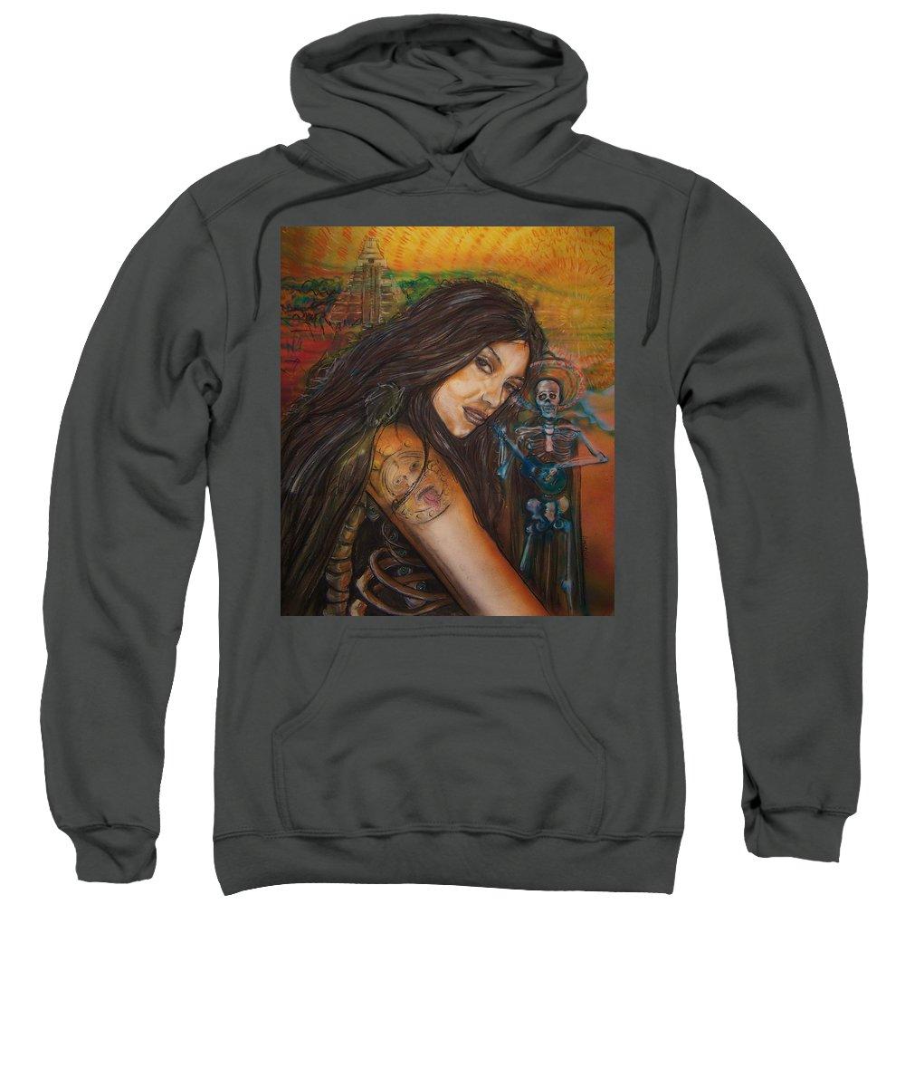 Skeleton Sweatshirt featuring the painting Cantando A Nuestros Pecados by Americo Salazar