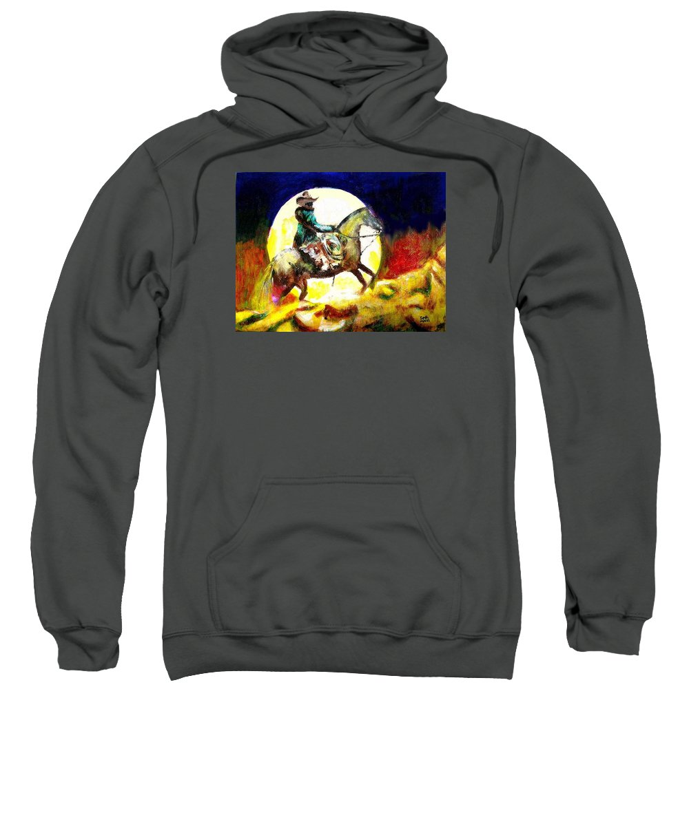 Canyon Moon Sweatshirt featuring the painting Canyon Moon by Seth Weaver