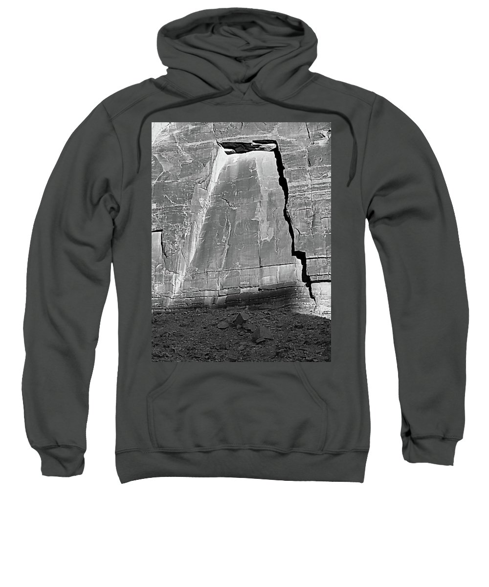 Digital Black And White Photo Sweatshirt featuring the photograph Canyon Shrine by Tim Richards