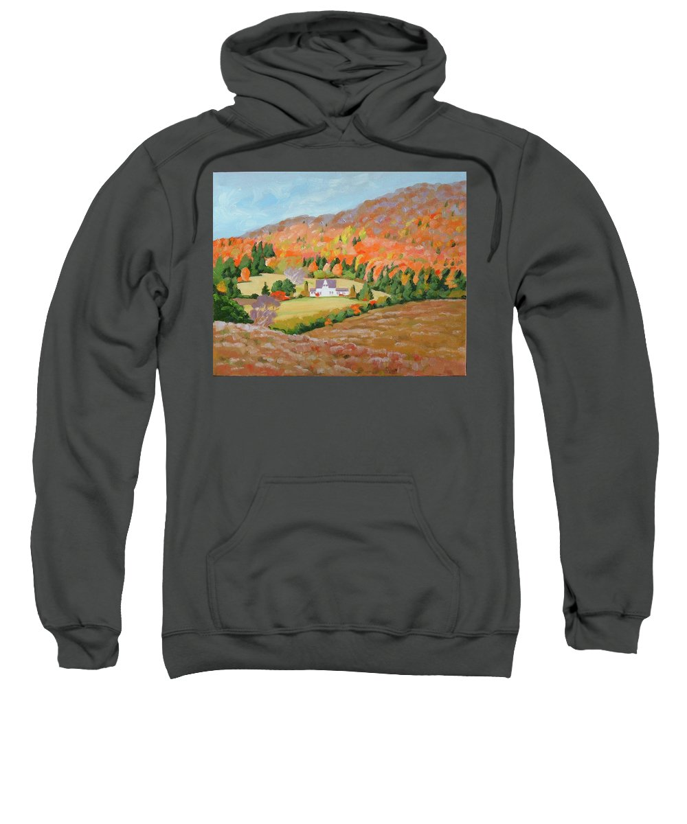 Landscape Sweatshirt featuring the painting Cape Breton Home by Carol Morrison