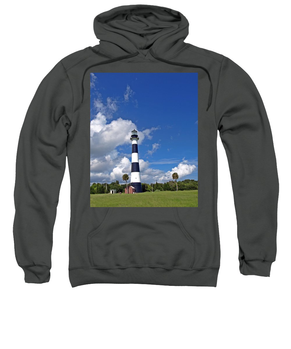 Lighthouse; Light; Canaveral; Cape; Cape Canaveral; Ccafs; Florida; East; Coast; Kennedy; Space; Cen Sweatshirt featuring the photograph Cape Canaveral Light In Florida by Allan Hughes