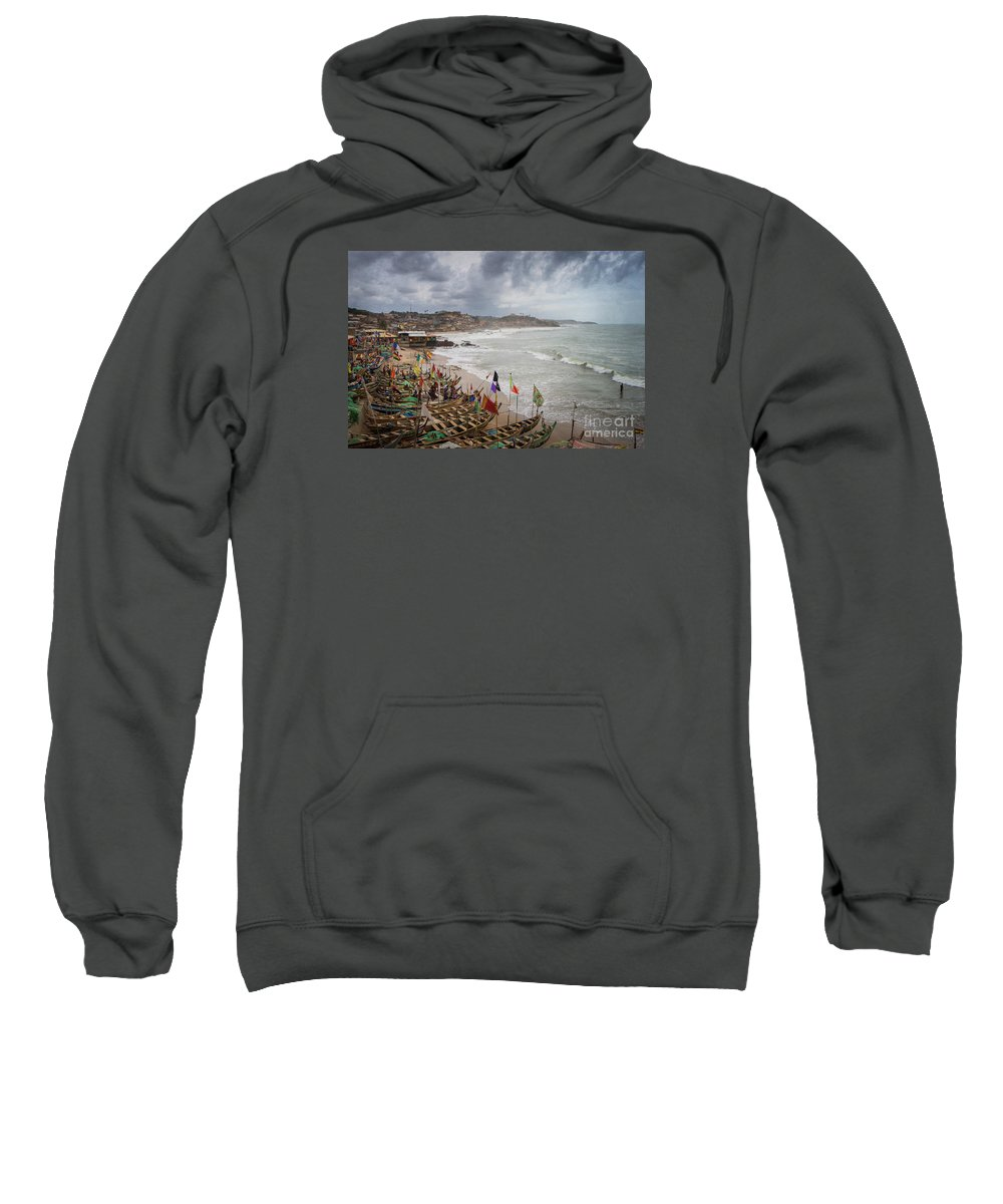 Cape Coast Sweatshirt featuring the photograph Cape Coast Fishing Village by Naoki Takyo