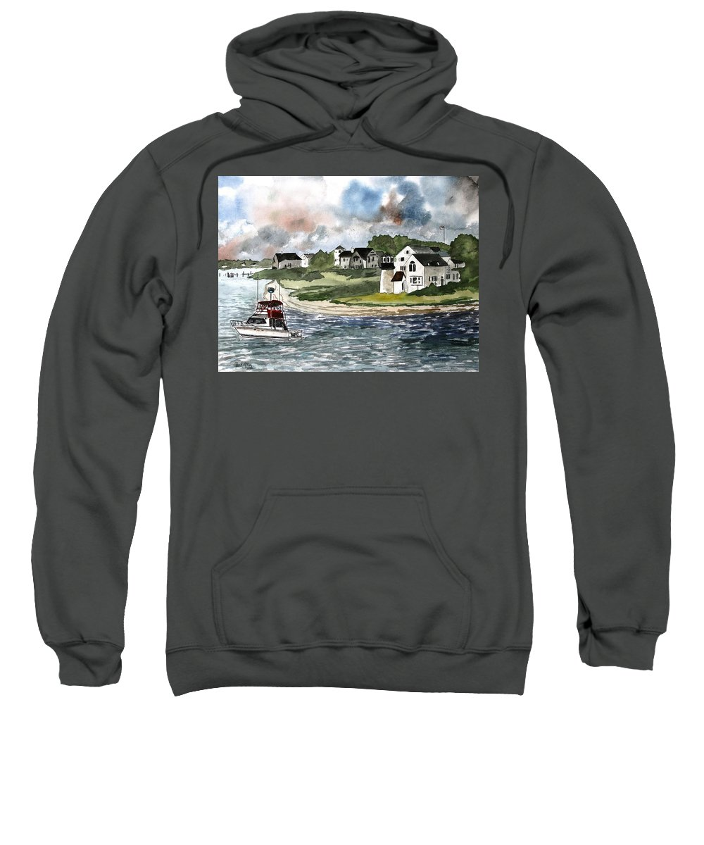 Lighthouse Sweatshirt featuring the painting Cape Cod Lighthouse by Derek Mccrea