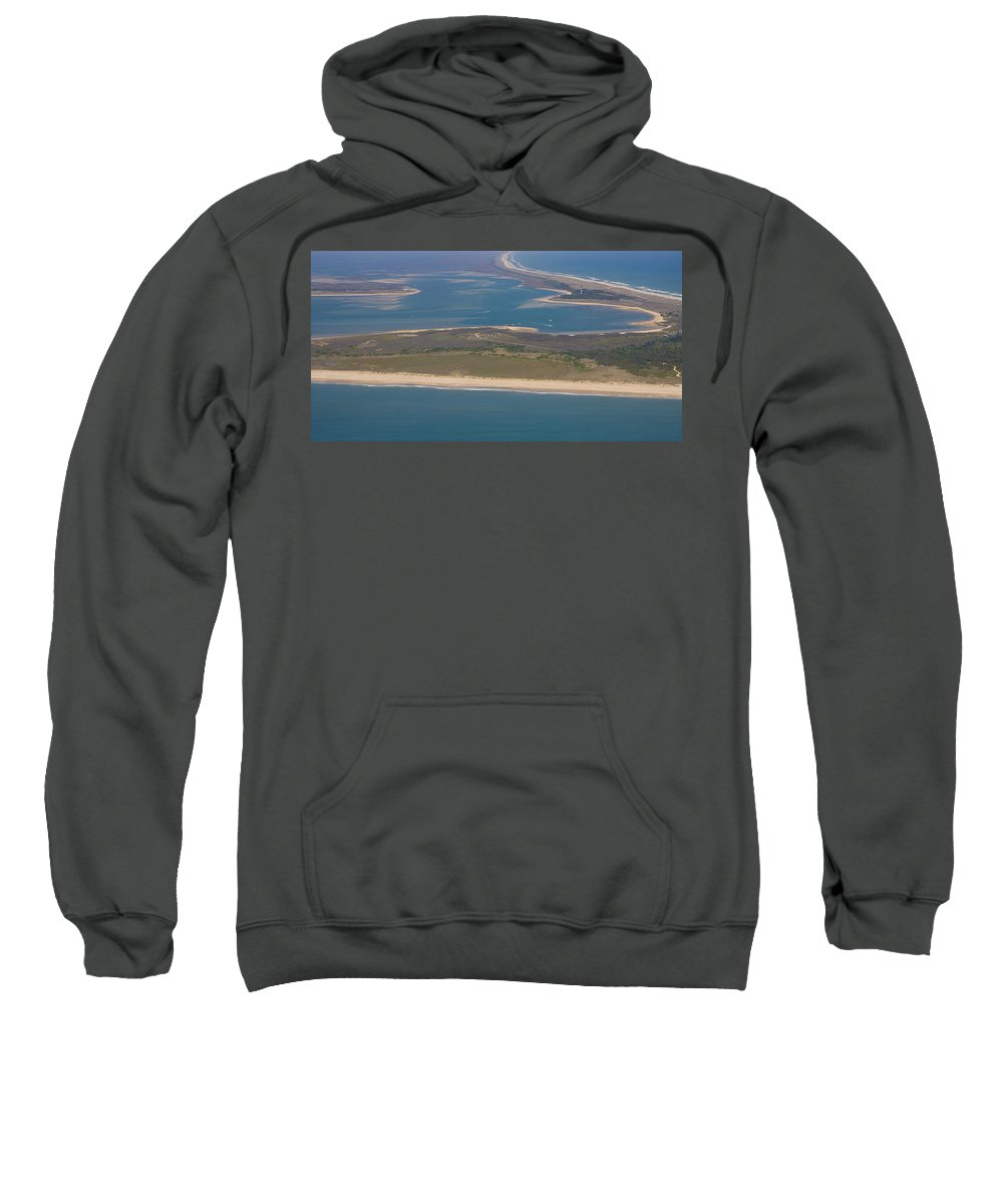 Harkers Island Sweatshirt featuring the photograph Cape Lookout Lighthouse Distance by Betsy Knapp