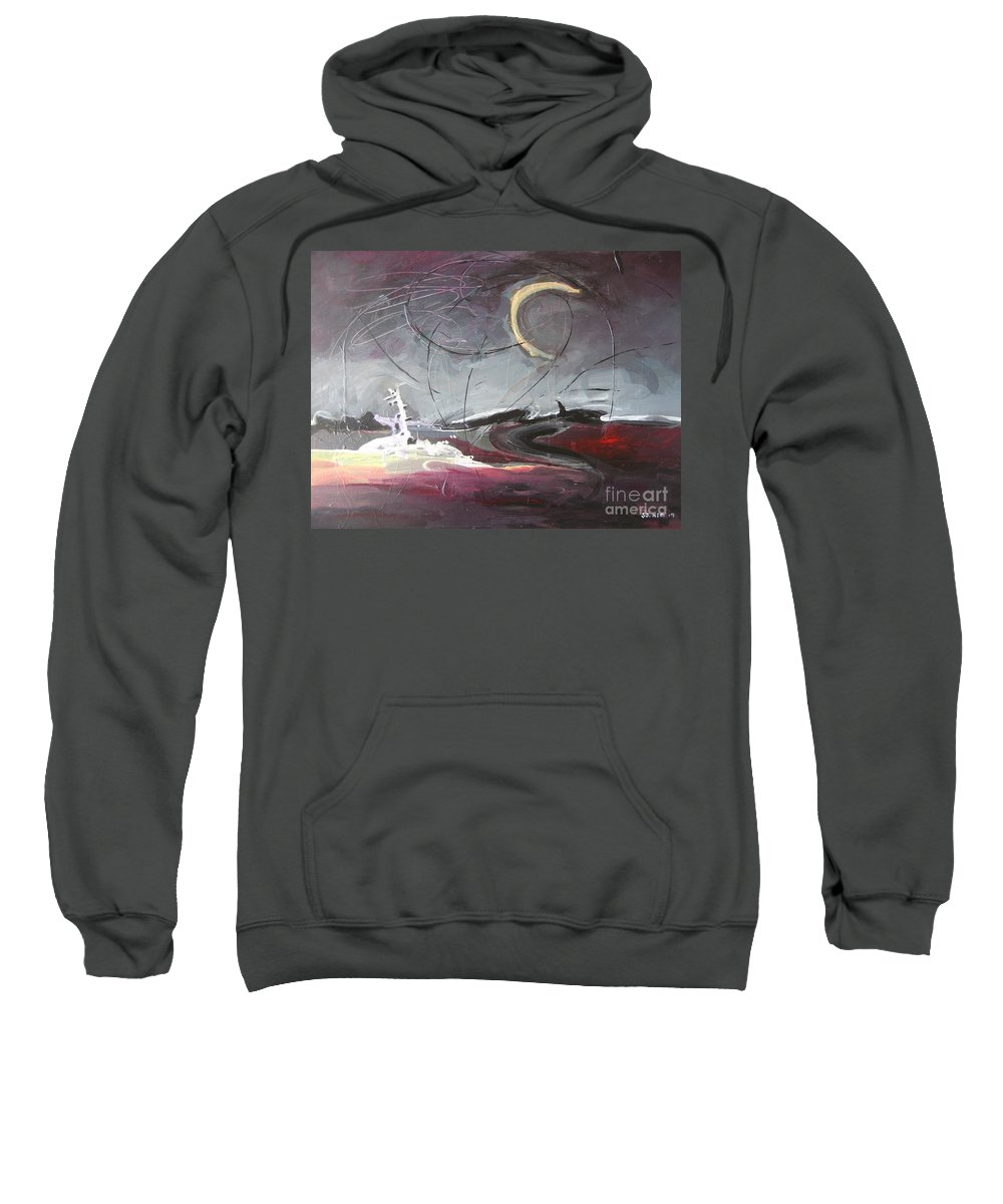 Abstract Paintings Sweatshirt featuring the painting Cape St. Mary by Seon-Jeong Kim