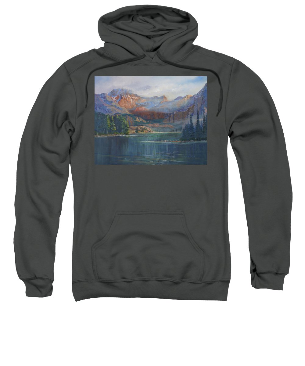 Capital Peak Sweatshirt featuring the painting Capitol Peak Rocky Mountains by Heather Coen
