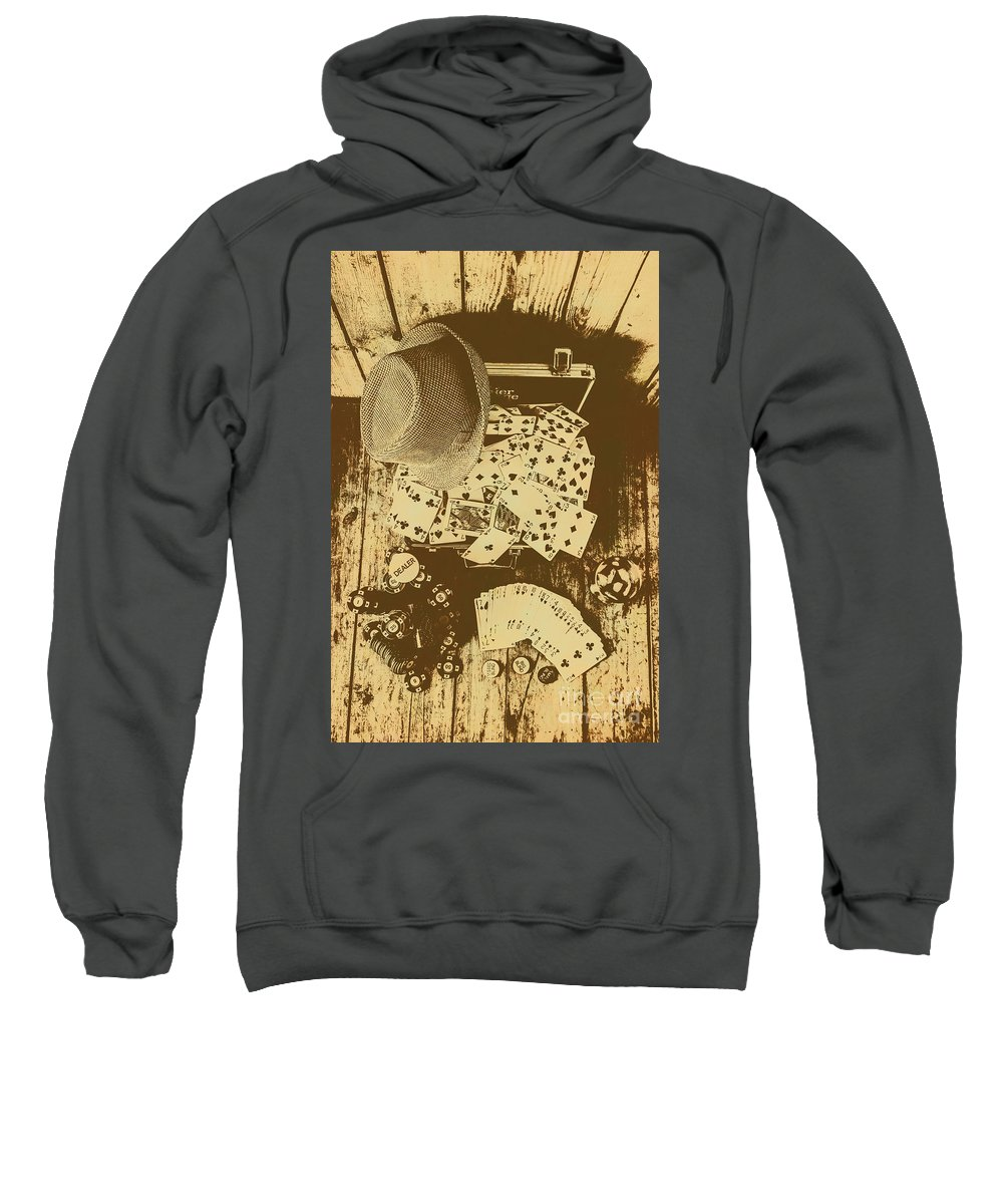 Vintage Sweatshirt featuring the photograph Card Games And Vintage Bets by Jorgo Photography - Wall Art Gallery