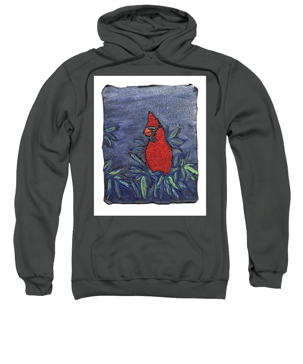 Bird Sweatshirt featuring the painting Cardinal In Winter by Wayne Potrafka