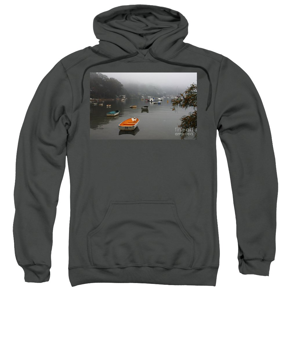 Mist Sweatshirt featuring the photograph Careel Bay Mist by Avalon Fine Art Photography