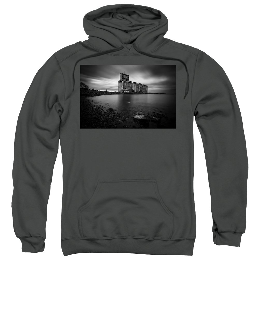 Cargill Pool Sweatshirt featuring the photograph Cargill Grain Lies Quietly On The Shores Of Lake Erie by Matt Shiffler
