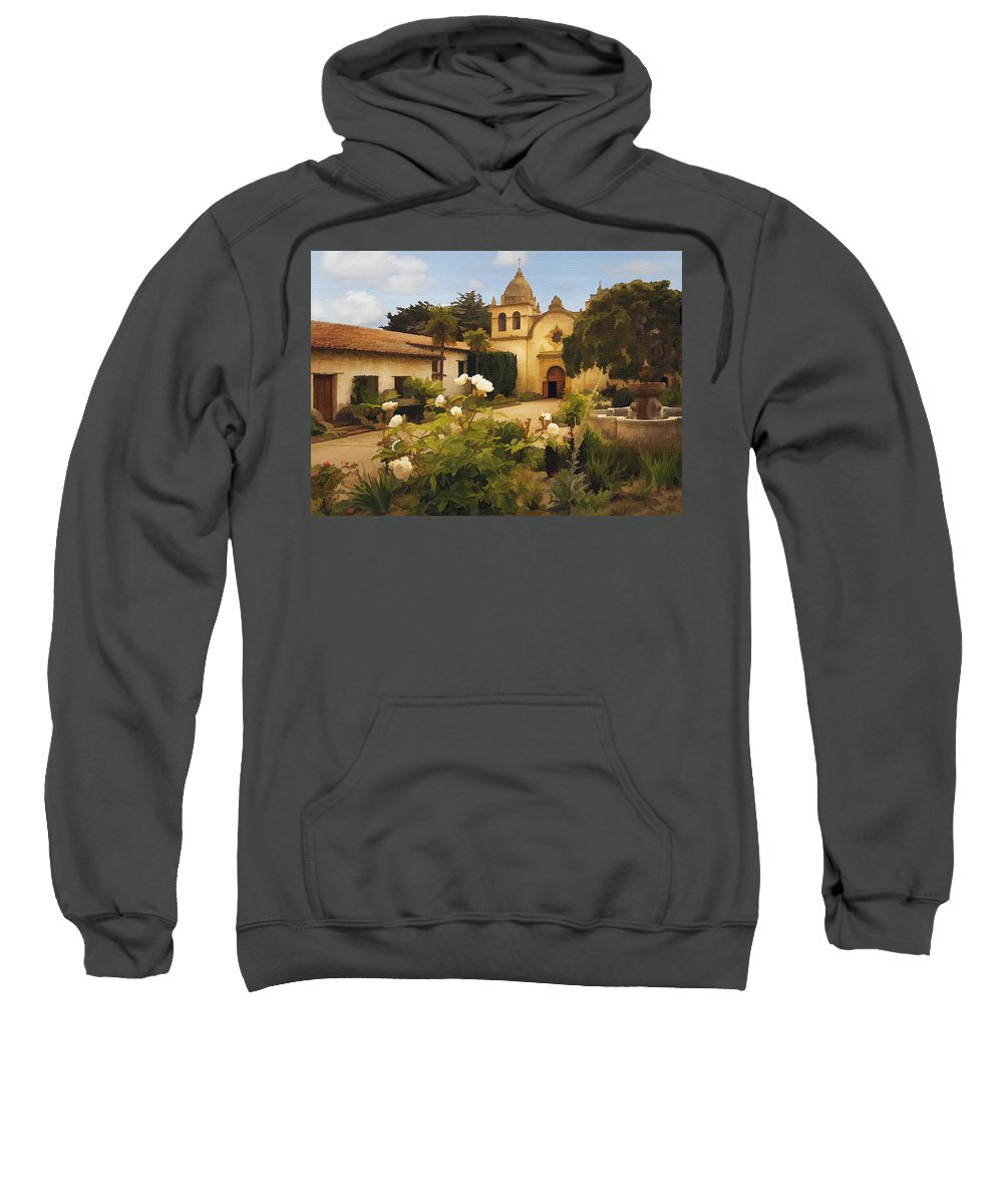 Architecture Sweatshirt featuring the photograph Carmel Mission by Sharon Foster
