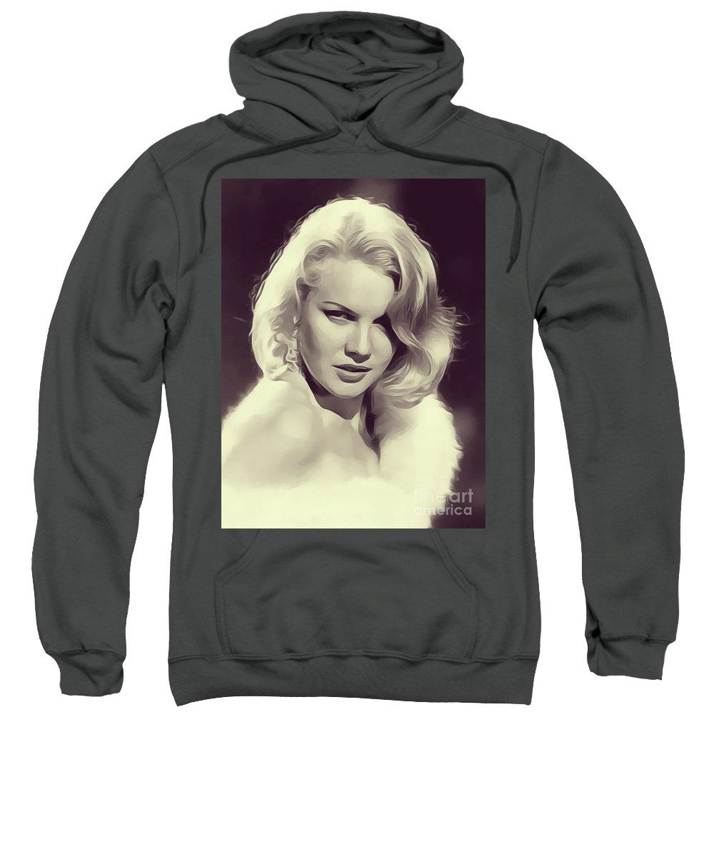Carrol Sweatshirt featuring the digital art Carrol Baker, Vintage Actress by John Springfield