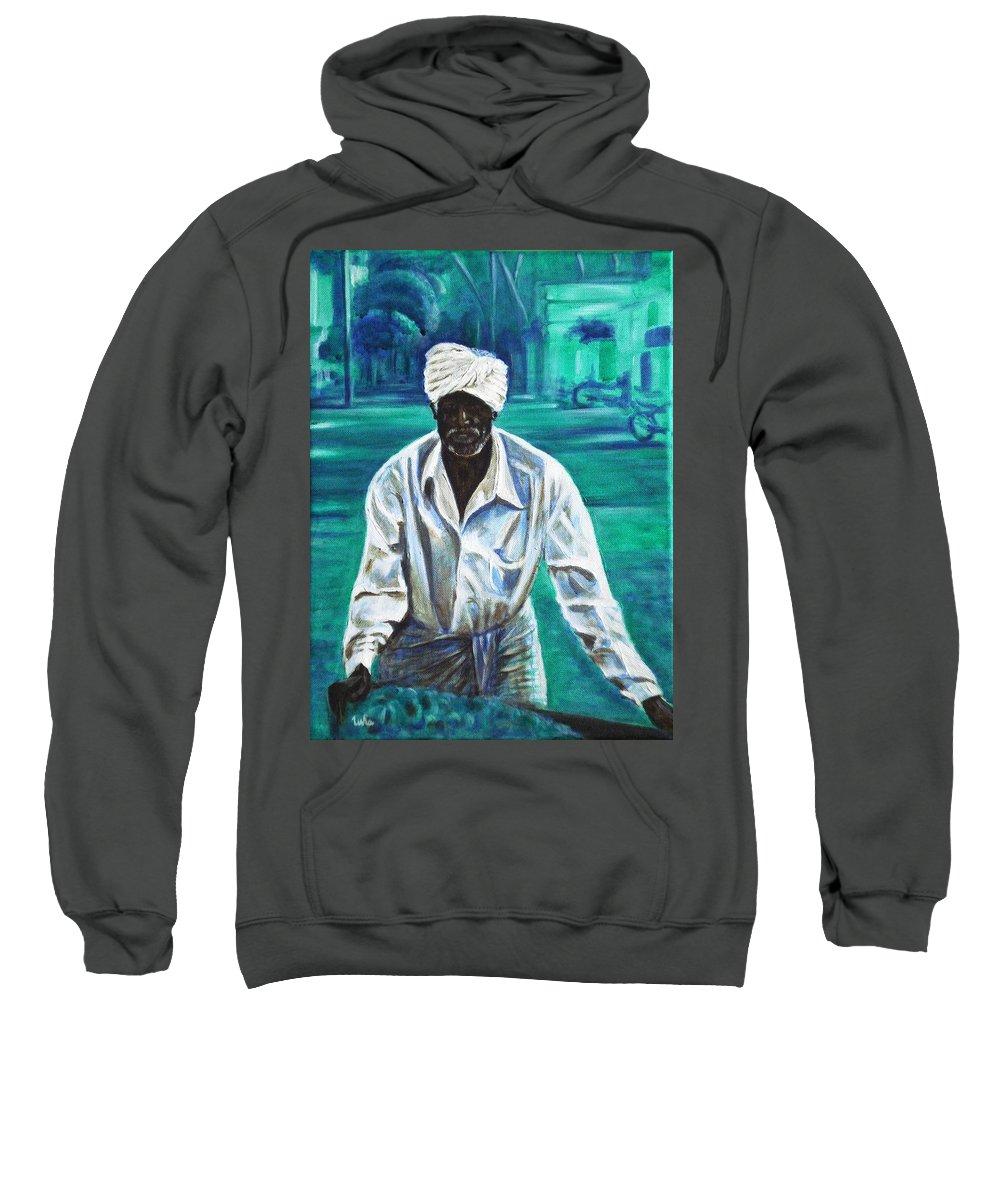 Indian Sweatshirt featuring the painting Cart Vendor by Usha Shantharam