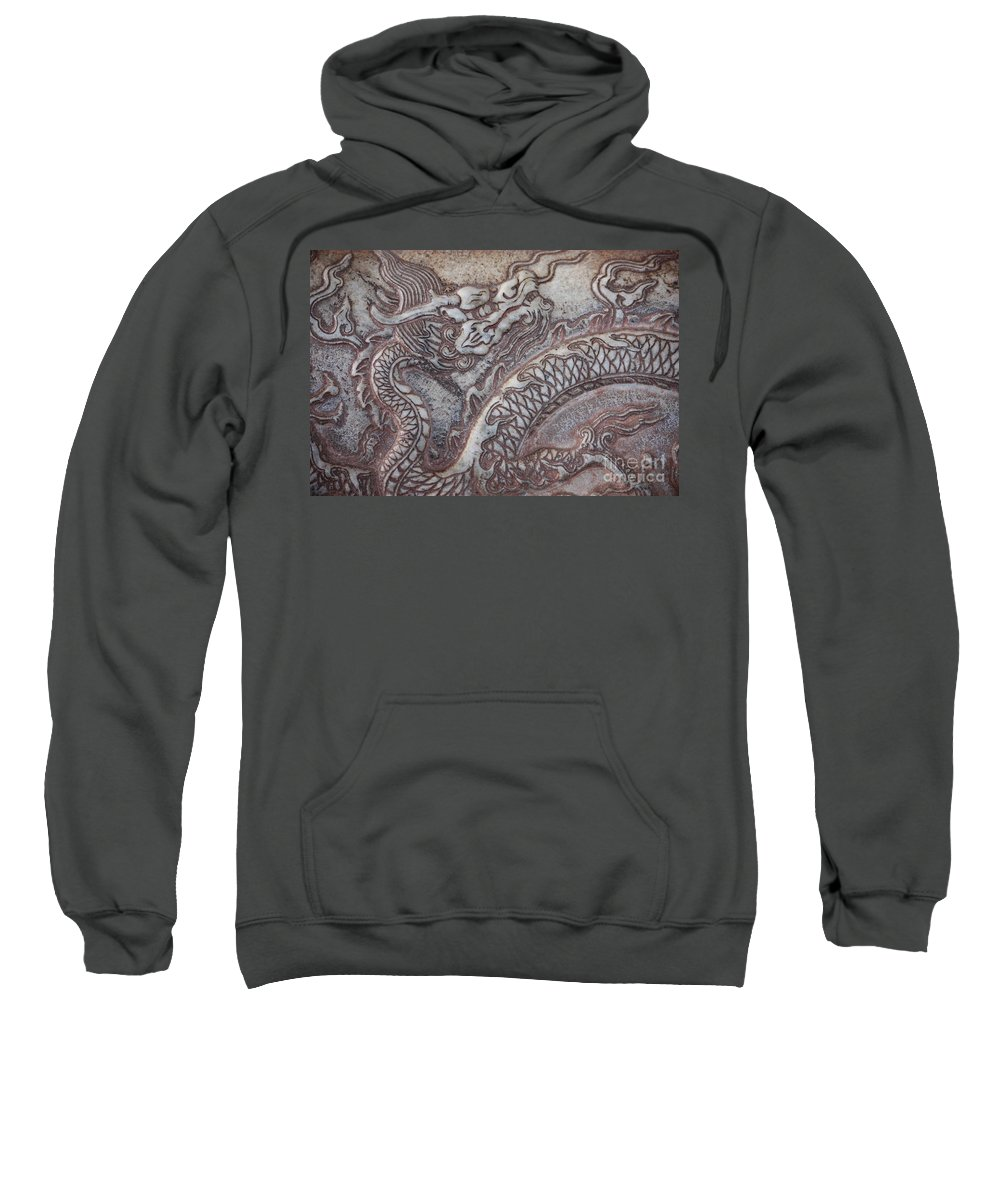 Chinese Dragon Sweatshirt featuring the photograph Carved Dragon by Carol Groenen