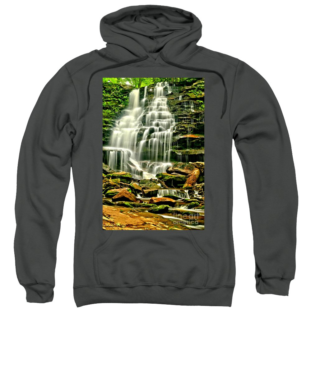 Erie Falls Sweatshirt featuring the photograph Cascades Of Erie Falls by Adam Jewell