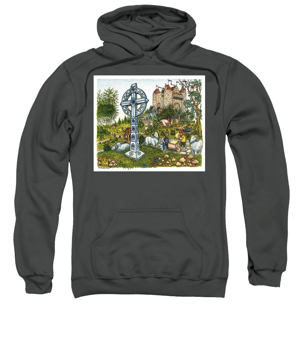 Castle Sweatshirt featuring the drawing Castle Cross by Bill Perkins