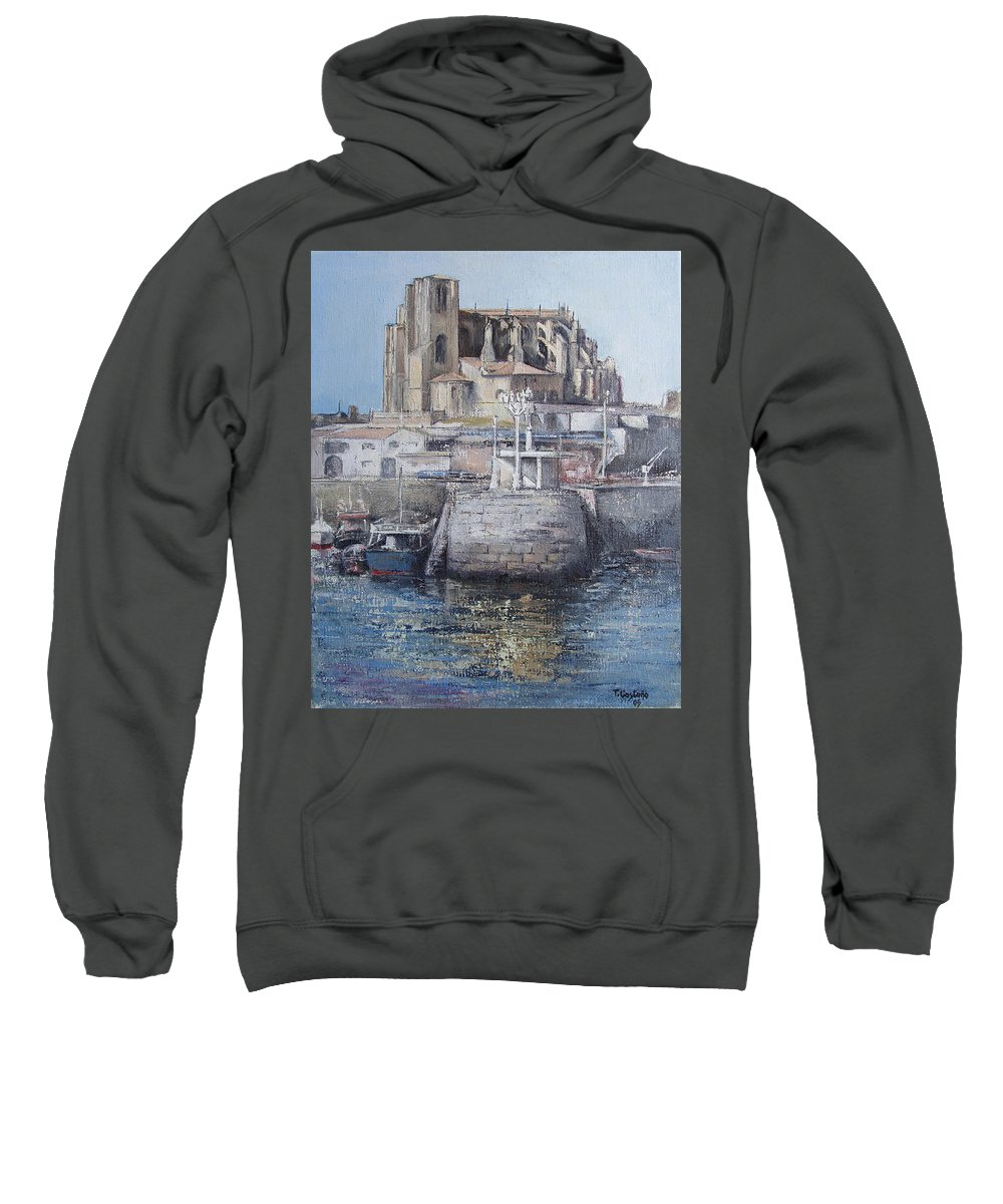 Castro Sweatshirt featuring the painting Castro Urdiales by Tomas Castano