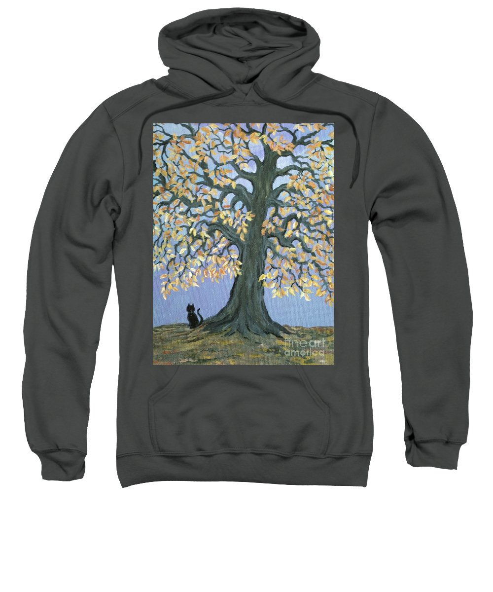 Cat Sweatshirt featuring the painting Cat And Crow by Nick Gustafson