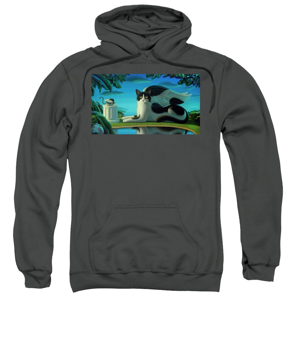 Cat Sweatshirt featuring the painting Cat And Mouse 2 by Chris Miles