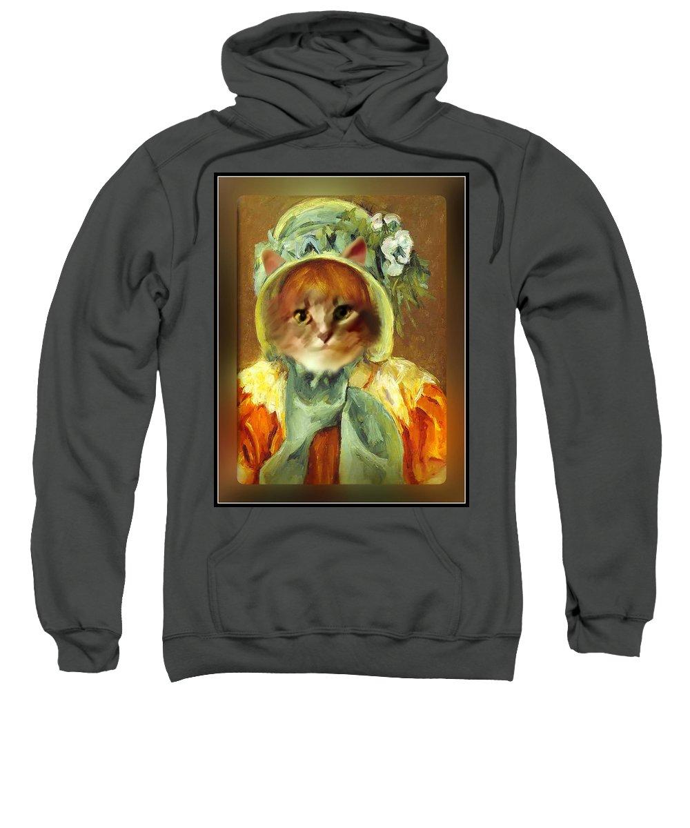 Cassatt Sweatshirt featuring the painting Cat In Bonnet by Gravityx9 Designs
