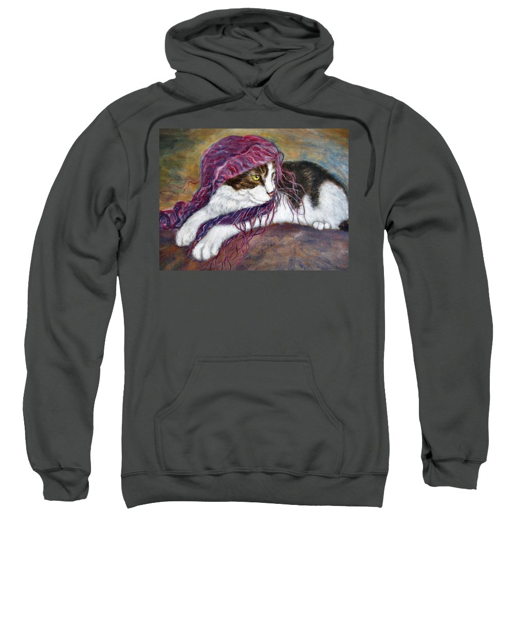Tortoise Cat Sweatshirt featuring the painting Cat Painting Charlie The Pirate by Frances Gillotti