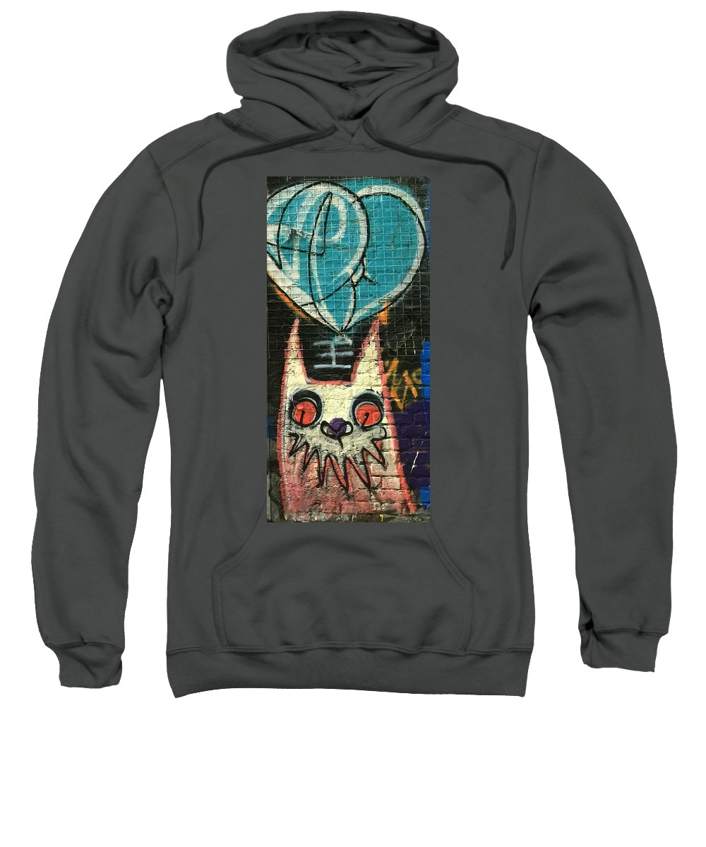 Street Art Sweatshirt featuring the photograph Cat With Teal Heart by Caroline Reyes-Loughrey