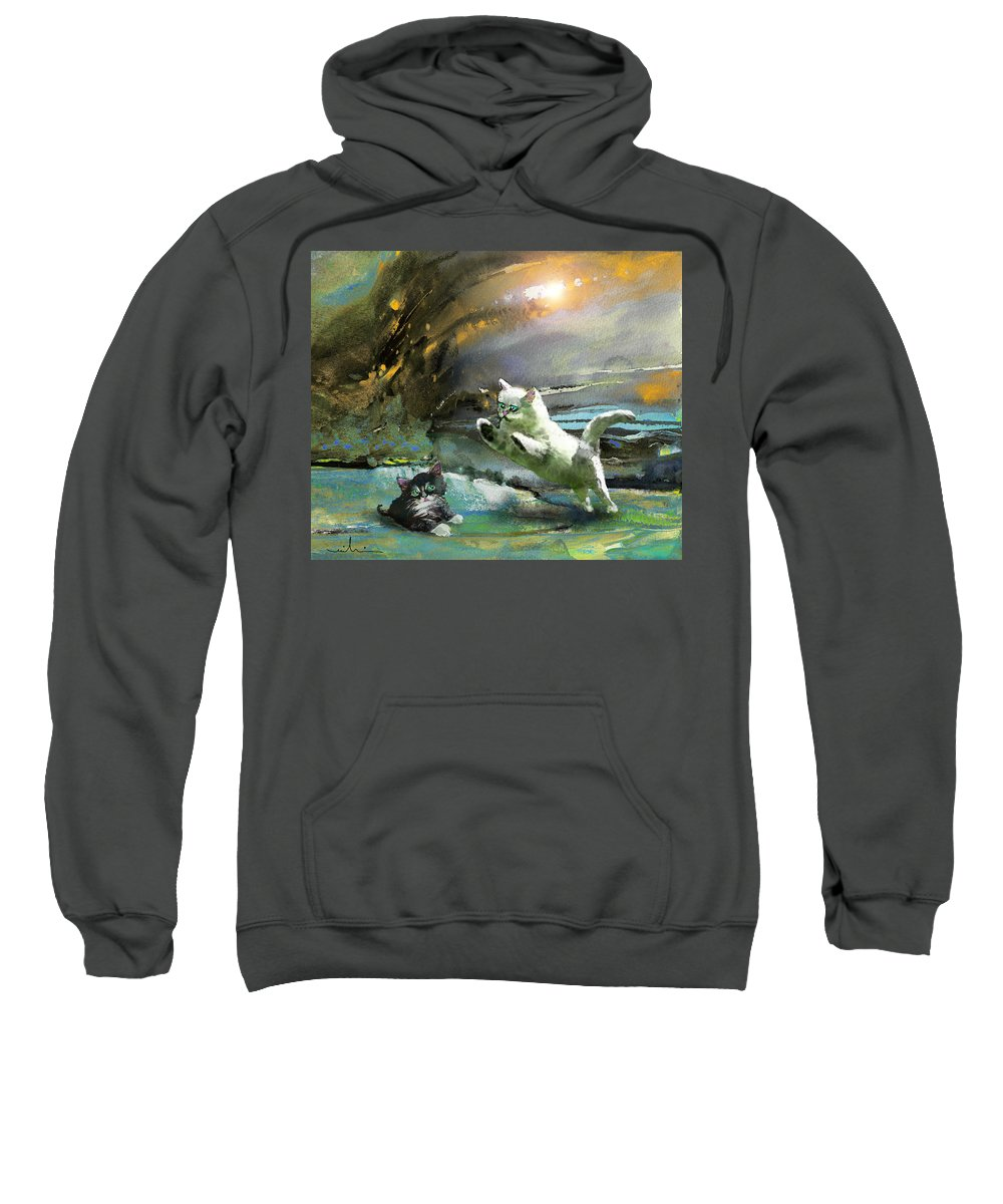 Animals Sweatshirt featuring the painting Catapult Of Love by Miki De Goodaboom