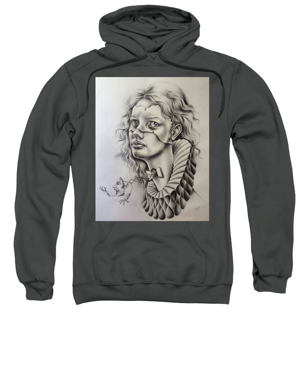 Portrait Sweatshirt featuring the drawing Catarsis by Dulce Luna